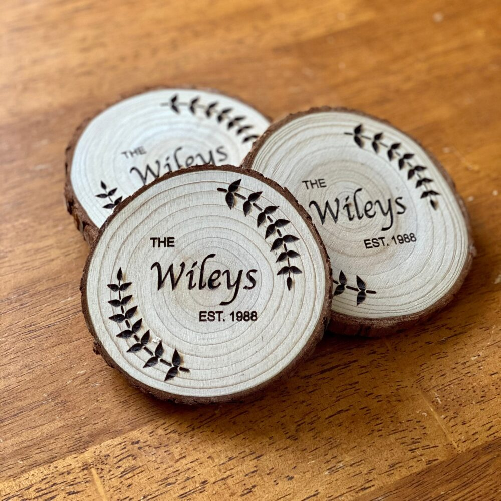 Custom Wood Slice Wedding Favors - Laser Engraved With Name, Year, Date, & Other Options