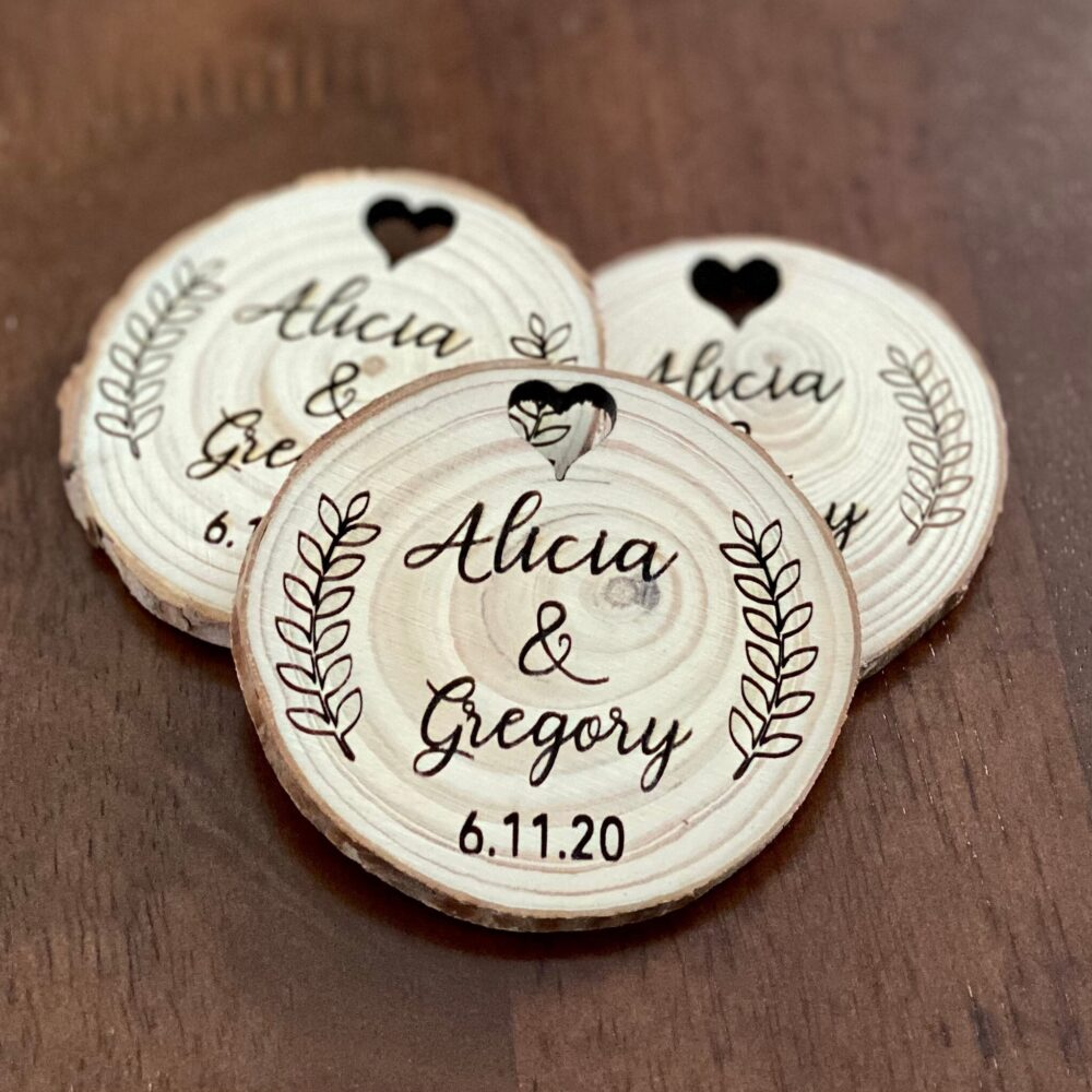 Custom Wood Slice Wedding Favor Or Save The Date - Laser Engraved With Names &