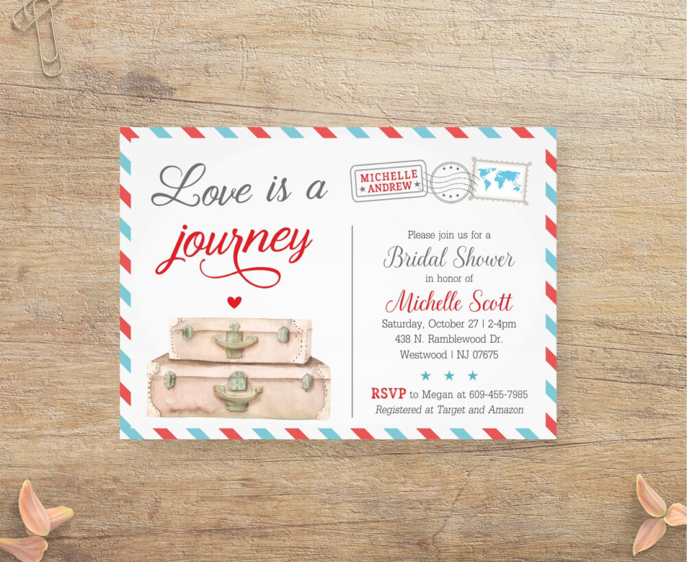 Travel Bridal Shower Invitation, Love Is A Journey, Airplane Wedding Shower, Airline Themed Invite, Blue Red Postcard, Suitcase Rt Printable