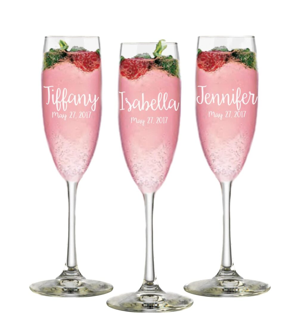 Set Of 6, Wedding Bridesmaid Gift, Personalized Champange Flutes, Bridal Party Custom Champagne Glasses, Shower Favor, Moh Gift