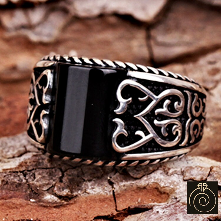 Mens Onyx Rings, Black Stone Silver Engagement Gift For Fiance, Celtic Pattern Engraved Jewelry Cool Men Antique Style Infinity Band 925