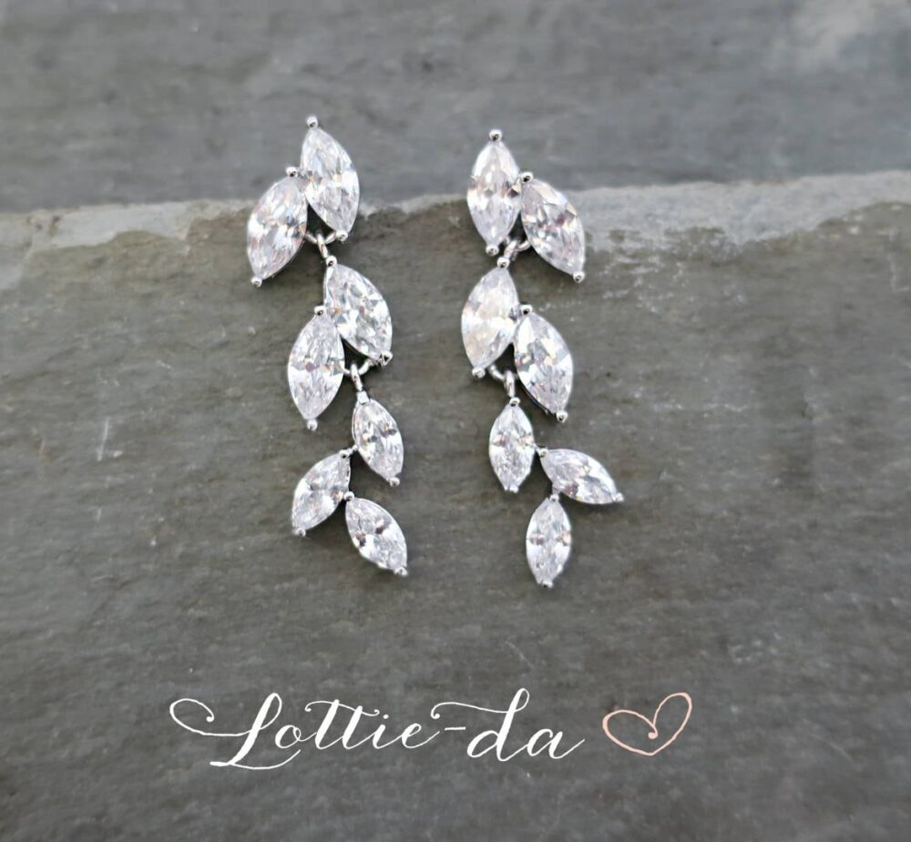 """Leaf Design Wedding Bridal Dangle Earrings With Marquise Crystals, Bridesmaids By Lottiedadesigns """"Avita"""""""