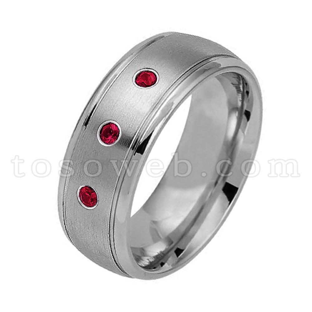 Men's Ruby Wedding Band, July Birthstone Ring, 8mm Brushed Center Polish Stepped Edge Tungsten Carbide Ring Ts1762
