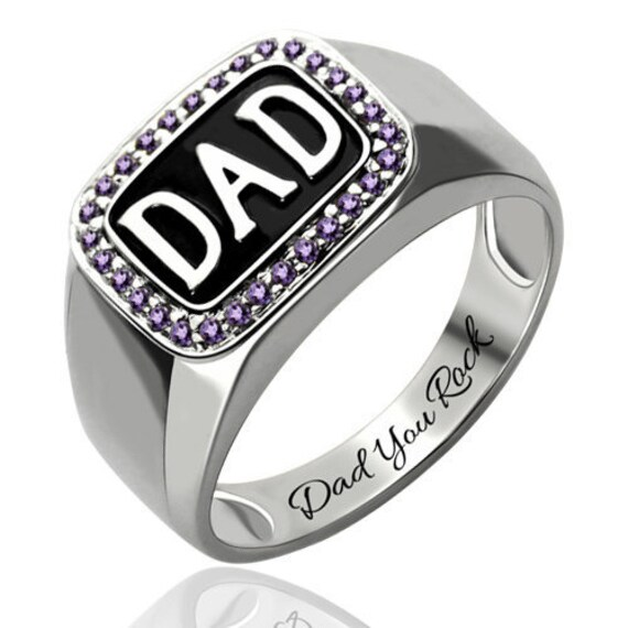 Platinum Plated Silver Men's Birthstone Dad Ring - Sterling 925 Gift For Him