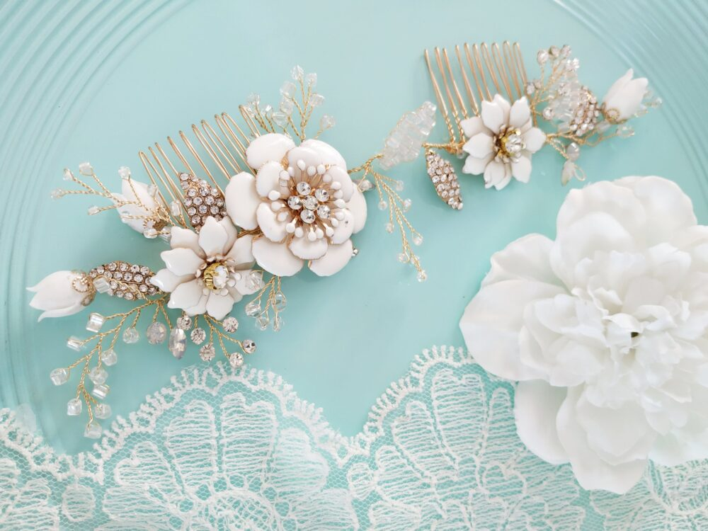 Gold Champagne White Wedding Hair Vine Comb Boho Bridal Headpiece Floral Crystal Piece Accessory