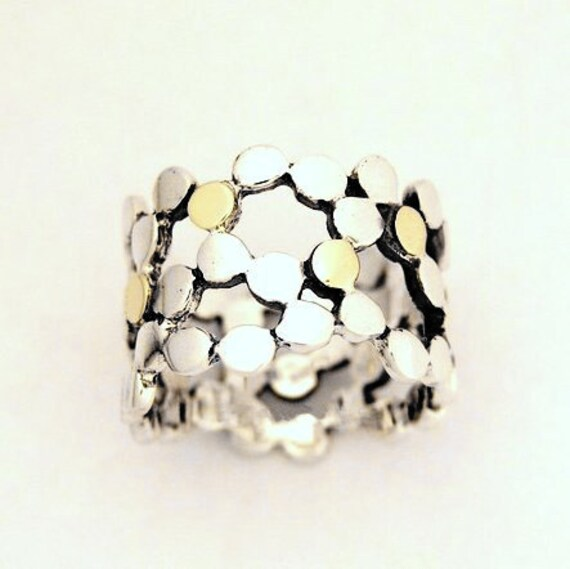 Silver Wedding Ring, Wide Dots Silver Gold Band, Simple Two Tone Modern Ring - Yet To Discover R1176G