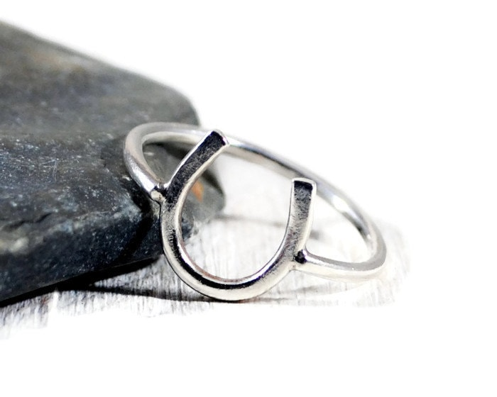 sterling Silver Horseshoe Ring. Good Luck Graduation Gift. Meaningful Womens Minimalist Jewelry. Birthday Gift For Her