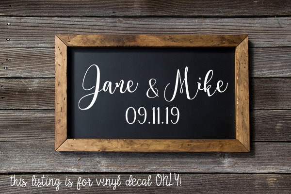 Wedding Names Decal, Personalized Wedding Decal Custom Name Reception Sign - Chalkboard Save The Date Vinyl Diy Card Box