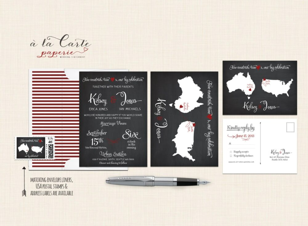 Destination Wedding Invitation Chalkboard-Inspired Two Countries, Hearts Bilingual Deposit Payment