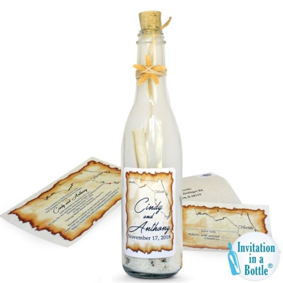Starfish Glow Message in A Bottle Invitation By in Bottle ™ - Premium, Vintage, Natural Starfish, Aged Invite, Save The Date