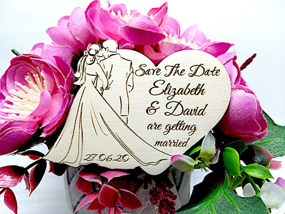 Save The Date Wooden Magnetsrustic Unique & Romantic With Newlyweds Silhouette Design , Wedding Heart Save From Wood Set Of 10