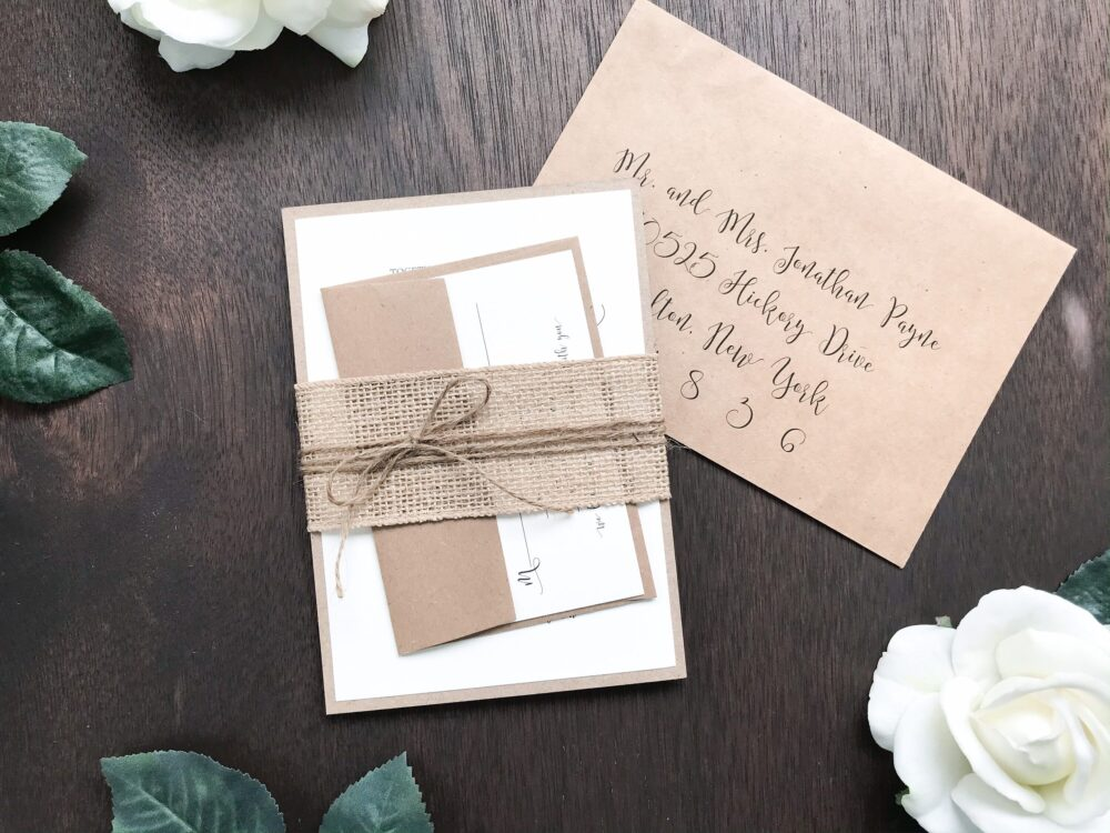 Rustic Burlap Wedding Invitation with Twine, Country Invitation, Farm Style Wedding, Barn Invite, Simple, Wrapped in Burlap, Assembled