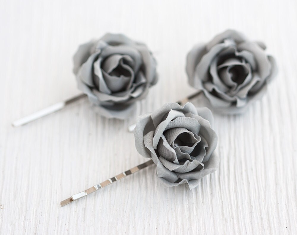 Gray Bobby Pins Wedding Hair Clips Roses Flower Floral Hair Accessories Piece Rose # 72