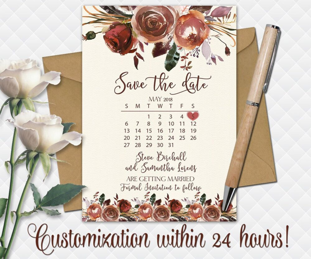 Fall Wedding Save The Date Printable Boho Bohemian Date Brown Beige Roses Bouquet Peonies Cards Winter Calendar