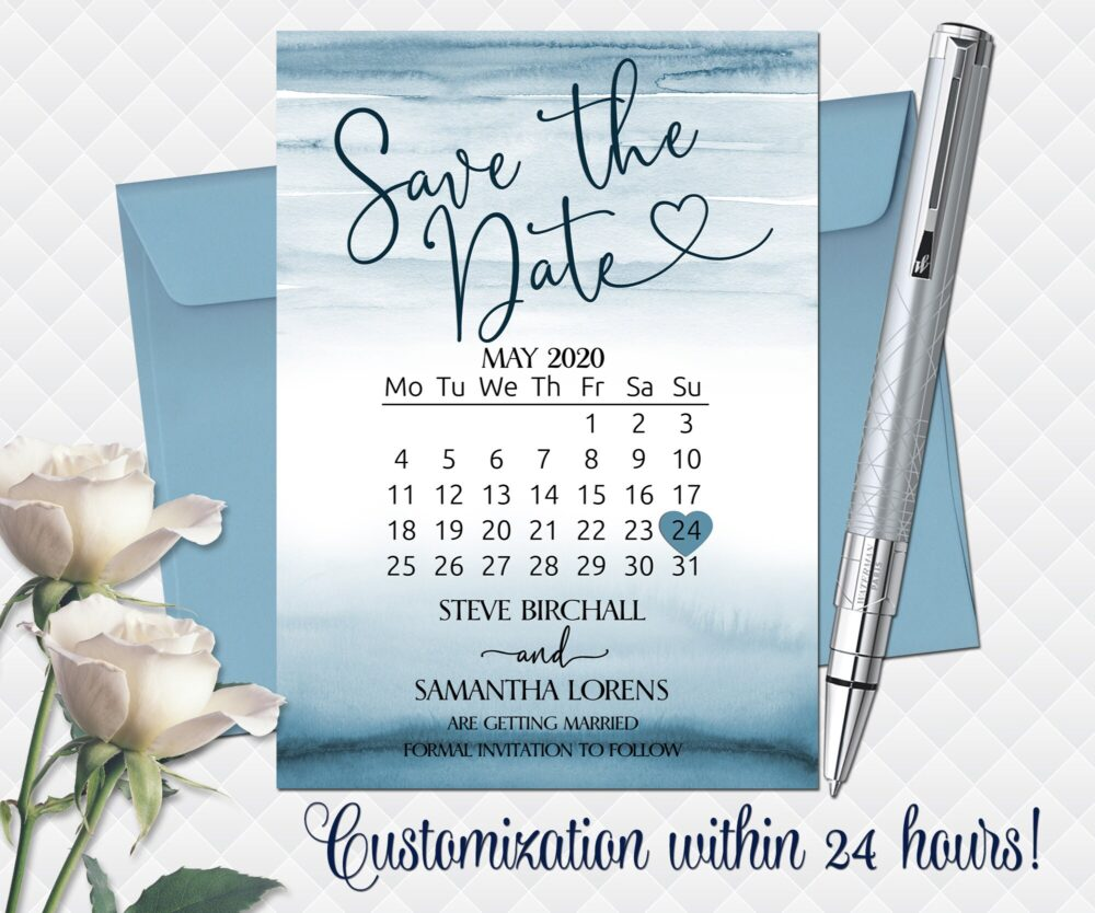 Wedding Save The Date Printable Ocean Summer Date Cards Sea Save The Calendar Blue Bridal Watercolor