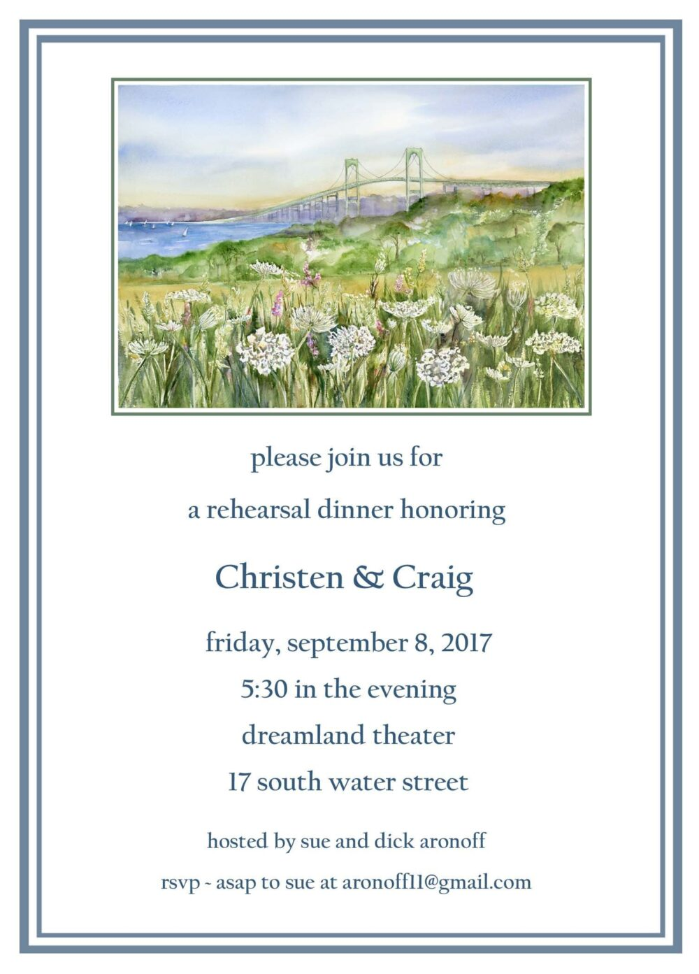 25 Newport Rhode Island Wedding Invitations, Rehearsal Dinner Save The Date Cards, Queen Ann's Lace Invites