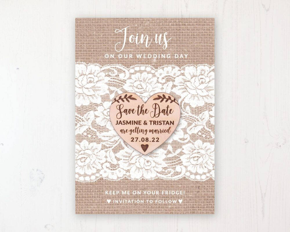 Save The Date Magnet With Card & Envelope - Chantilly Lace Wooden Heart Magnets Personalised Dates