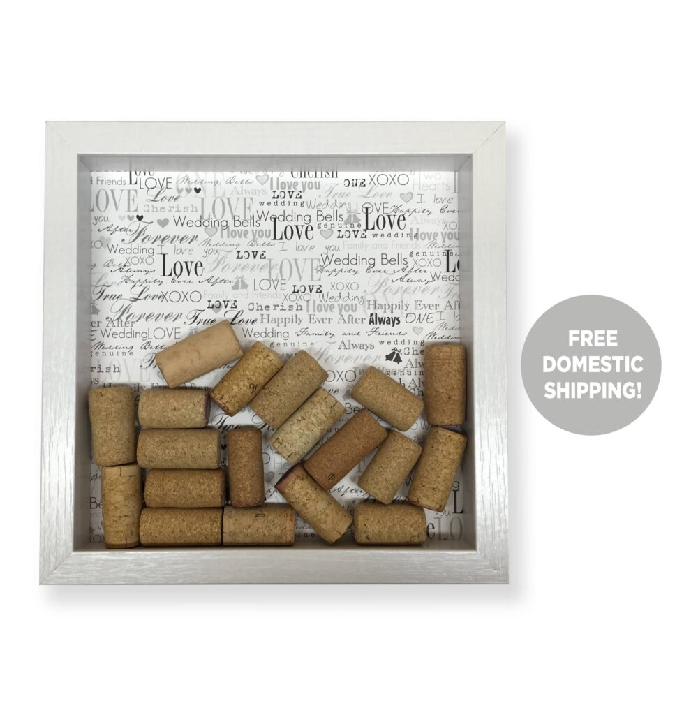 Wedding Wine Cork Shadow Box, Gay Gift, Engagement Party Bridal Shower Unique Gift For Couple, Lgbt