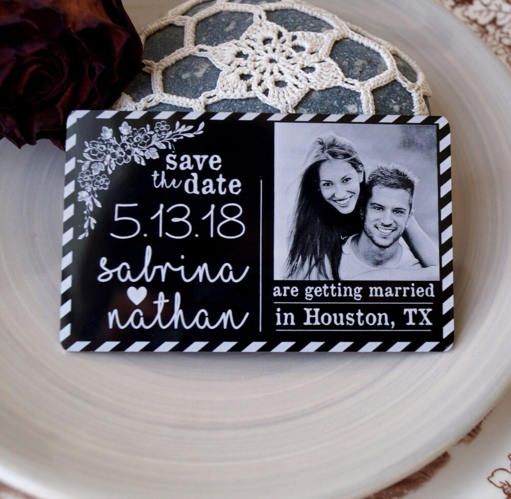 Save The Dates, Wedding Save Date, Unique Luxury Date Magnets, Laser Engraved Aluminum Picture 1 Pc