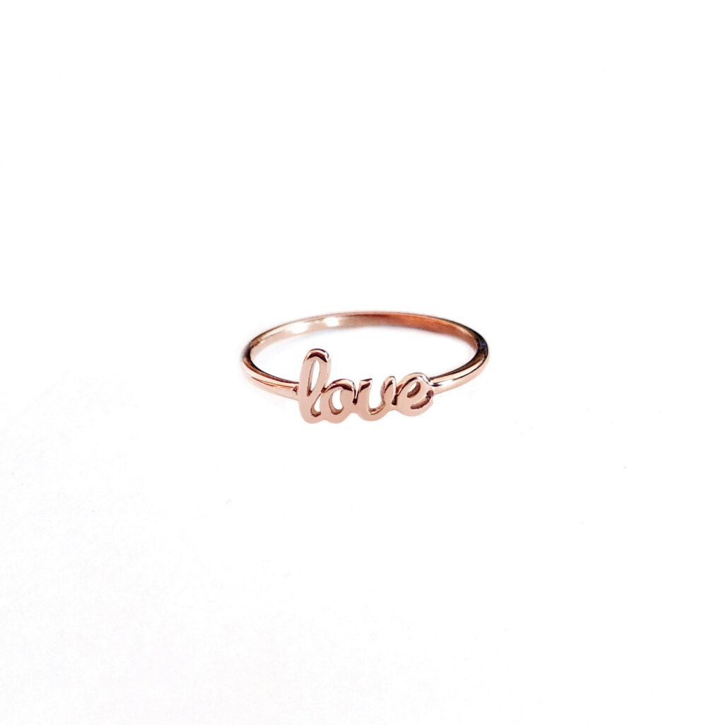 14K 9K Love Ring, Solid Gold Love Word Dainty Solid Cursive Romantic Jewelry, Anniversary Gift For Her