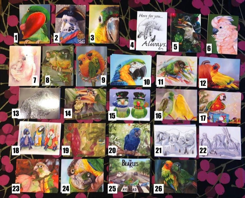 Postcards - Create Your Own Set Of 10 Parrot Themed- Choose From Many Different Designs
