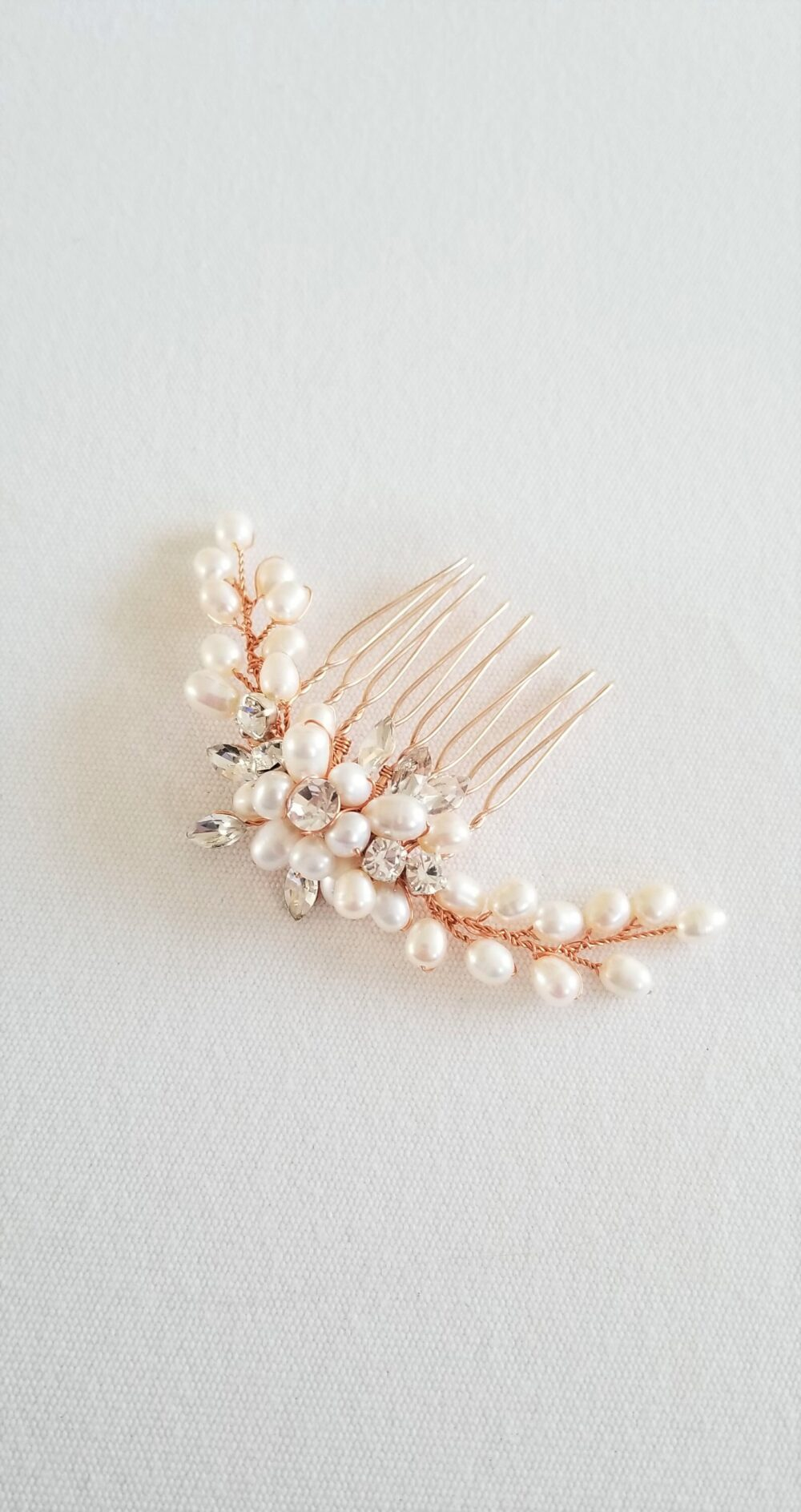 Freshwater Pearl Wedding Hair Comb, Small Crystal Bridal Rose Gold Comb For Bride