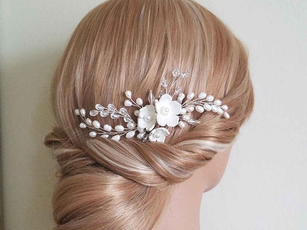 Wedding Pearl Hair Comb, Bridal Piece, Freshwater Crystal Jewelry, Floral Flower Comb