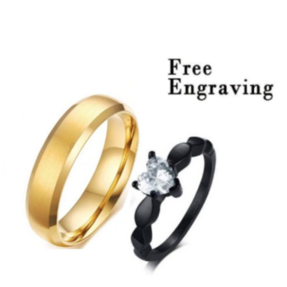 Promise Ring Set, Set For Him & Her, Matching Promise Rings, Gold Black Zircon Ring Couples, Matching Rings Custom Engraving