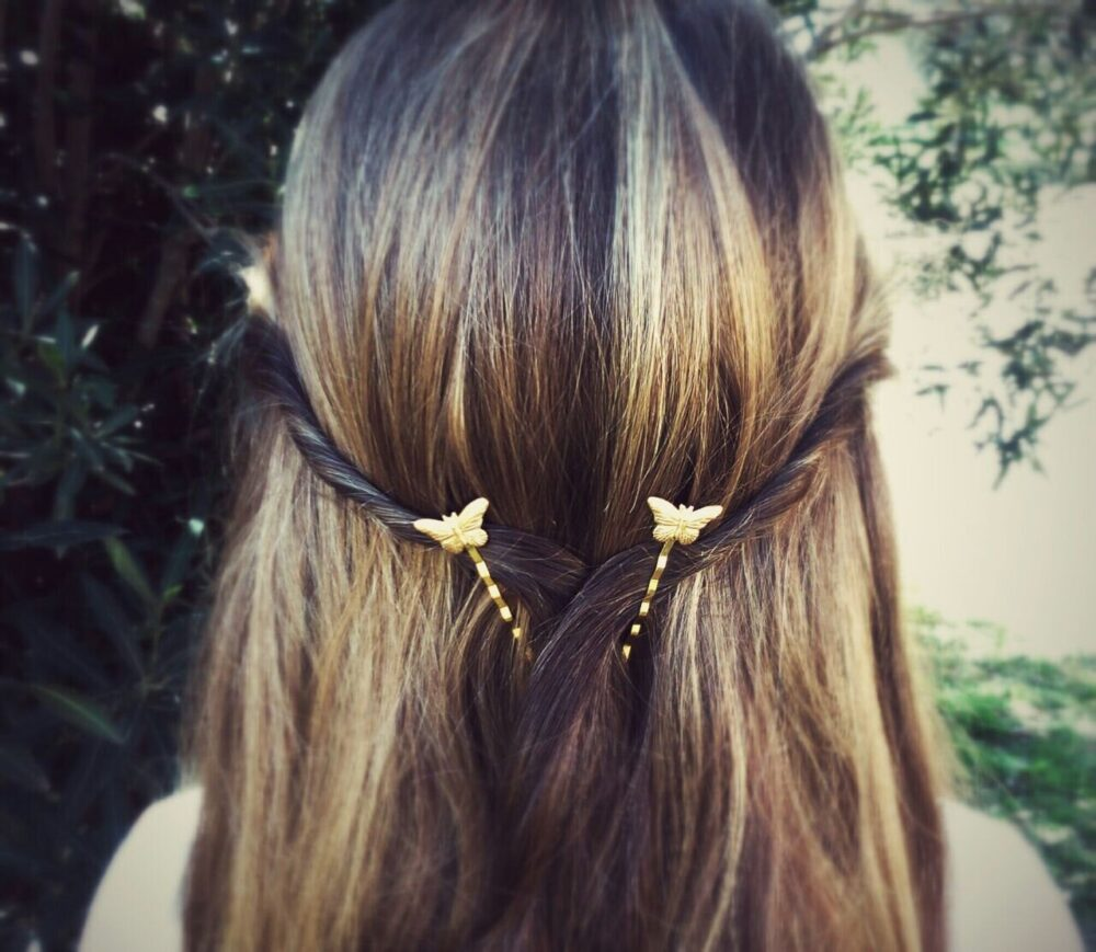 Butterfly Hair Pin Gold Bobby Pins Brass Clips