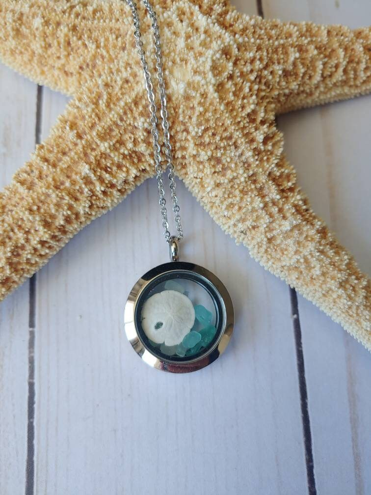 Sea Glass Jewelry -Mothers Day Necklace - Mothers Gift Gift For Mom From Husband Sand Dollar Necklace- Jewelry Women