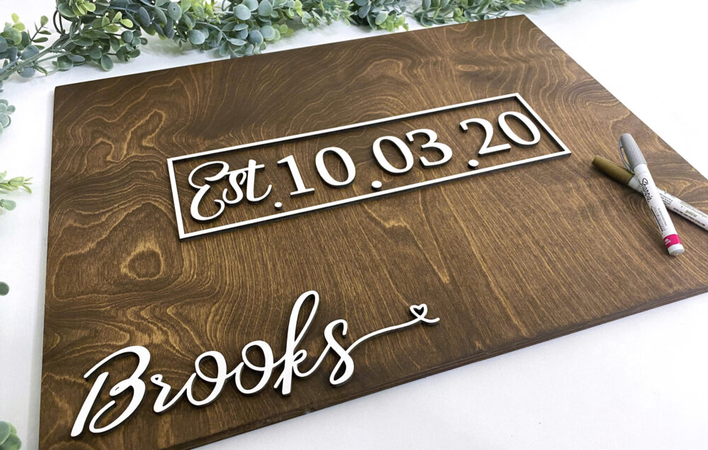3D Wedding Guest Book Alternative - Rustic Book Wooden Sign Date Guestbook Last Name