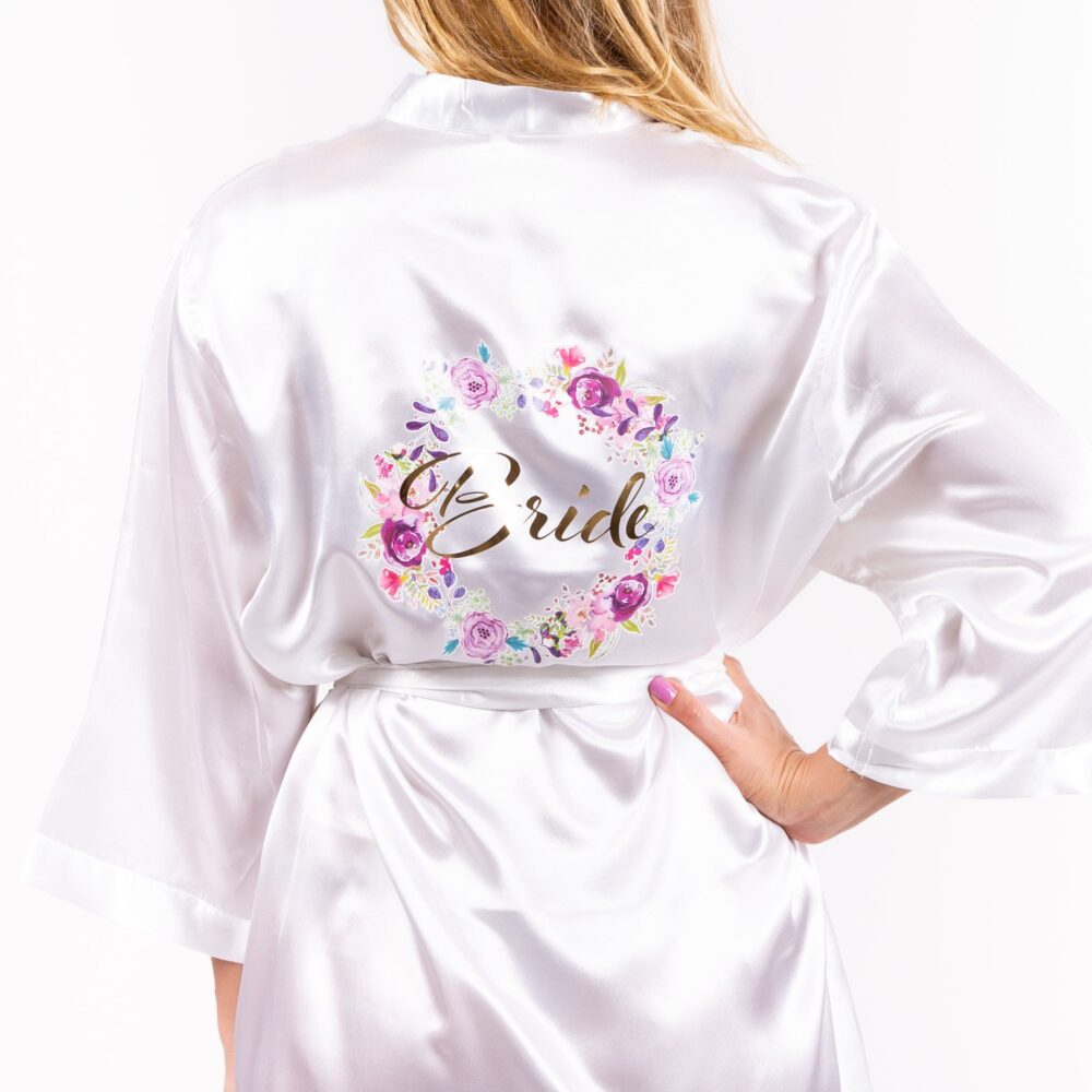 Bride Custom Satin Robes With Flowers, Bridal Party Robes, Wedding Plus Size Robe, Gown, Set Of Bridesmaid Bride To Be
