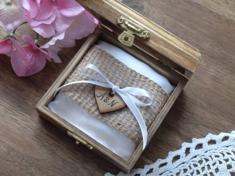 Wedding Ring Box. Rustic Wooden Holder. Bearer Personalized Pillow Window Box With Burlap Rolls