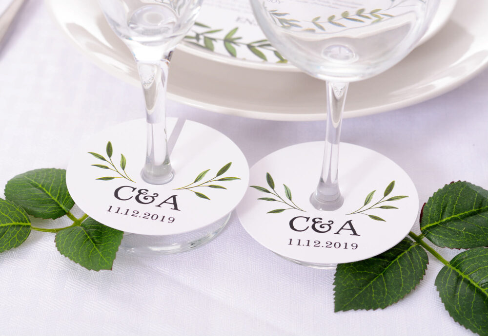 Wedding Wine Glass Tags - Champagne Tag Floral Markers Personalized Stem Circles Wdim-224