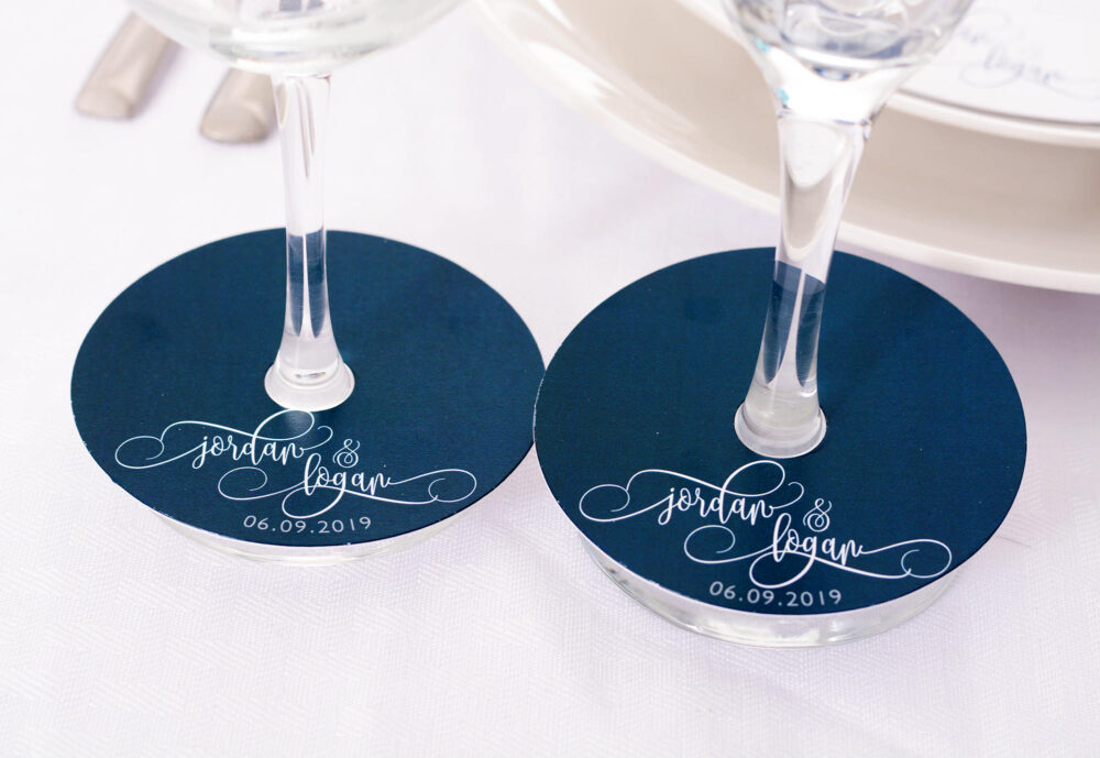 Wedding Wine Glass Tags - Champagne Script Markers Personalized Stem Tag Circles Wmur-101