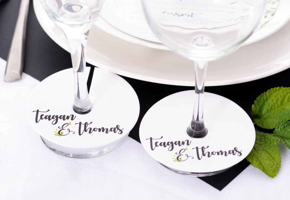 Wedding Wine Glass Tags - Champagne Tag Cute Markers Personalized Stem Circles #wdim-259