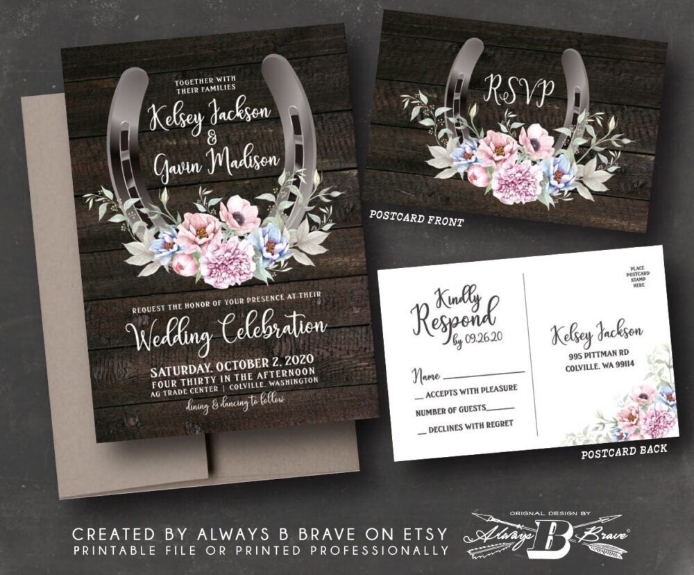 Horseshoe Wedding Invitation & Rsvp Postcard | Western Invitations Country Chic Invites Dusty Pink Floral Wood Rustic Invite