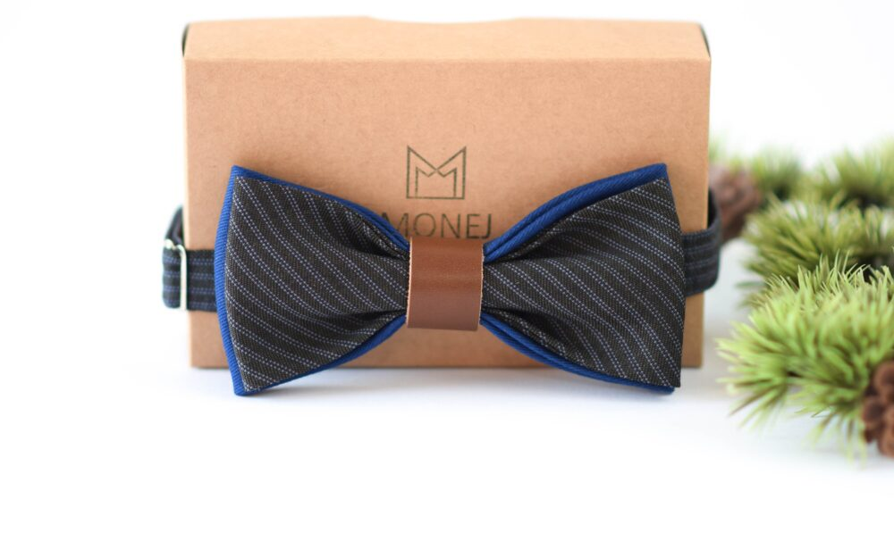 Blue Grey Bow Tie For Men, Boho Wedding Groom Groomsmen, Father Day Gift, Business Men Gifts