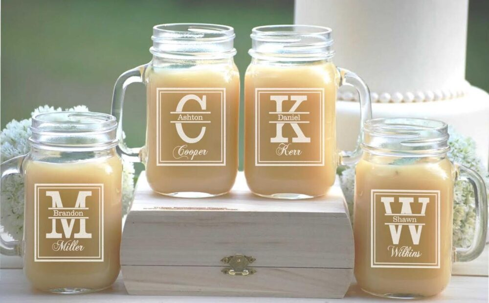 9 Personalized Beer Mugs, Engraved Mason Jar Glasses With Handle, Monogrammed Wedding Party Gifts, Bridesmaid, Groomsmen