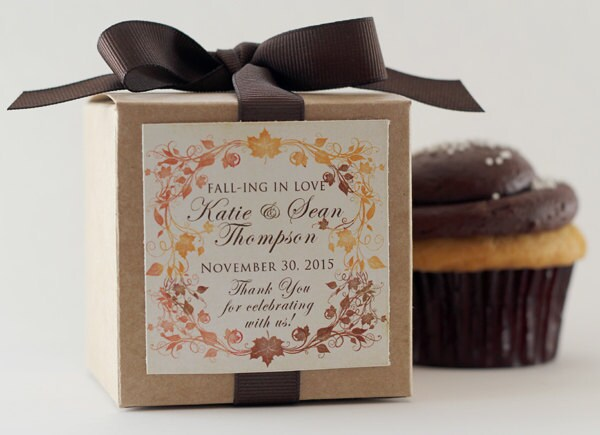 Wedding Favors   Bridal Shower Favor Engagement Party Fall Autumn Leaves Cupcake Box Personalized