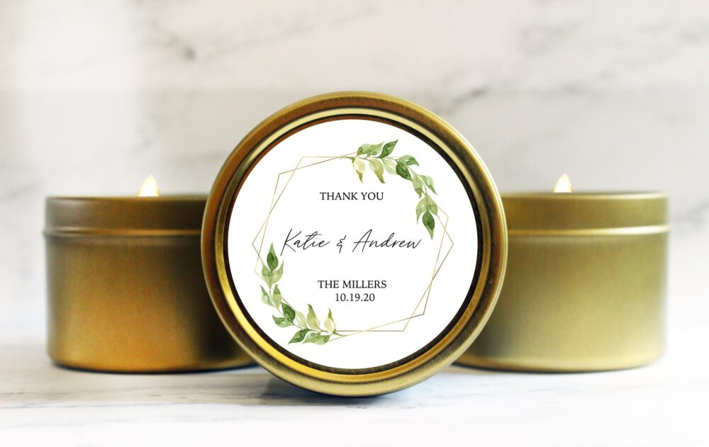 Greenery Wedding Favors - Boho Spring Unique Favor Candles For Guests