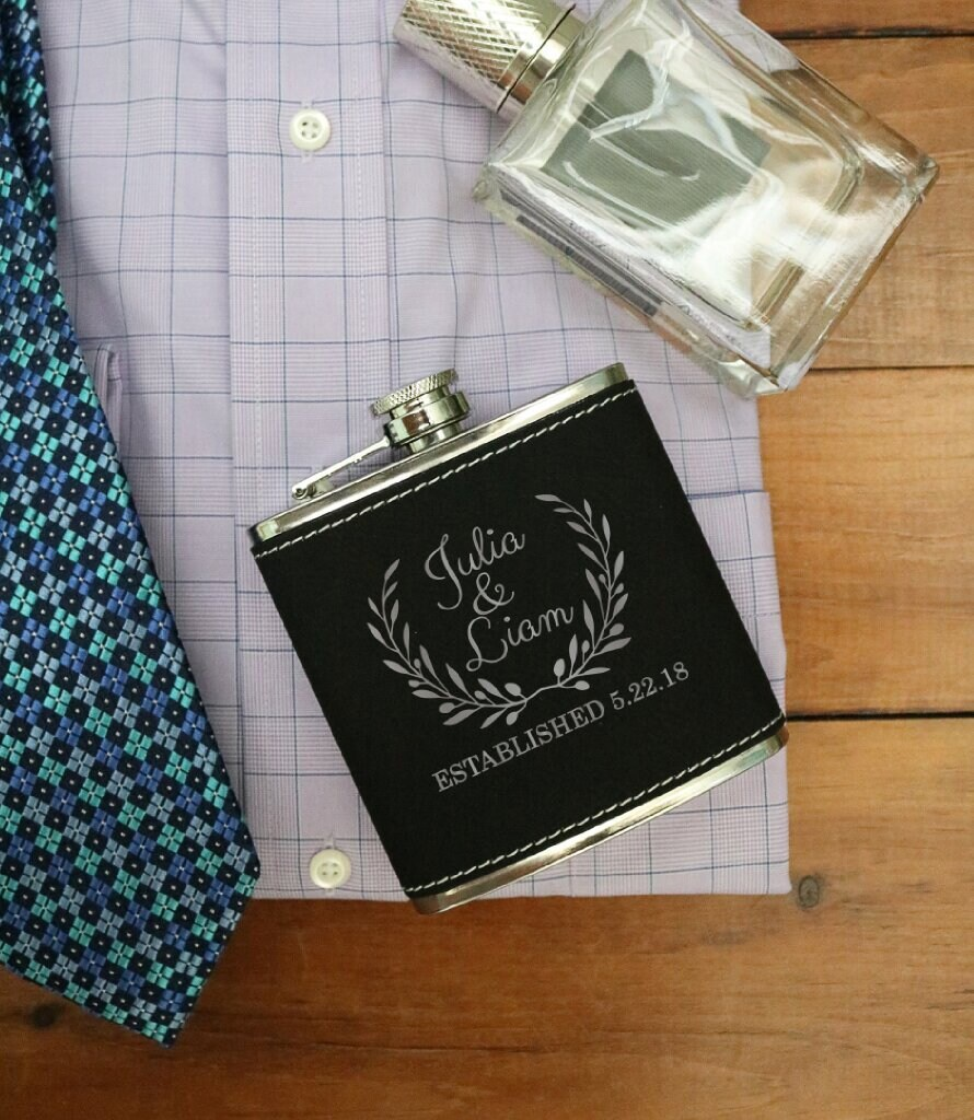 Personalized Wedding Gift, Flask, Hip Custom Engraved Drink Gift For Couple