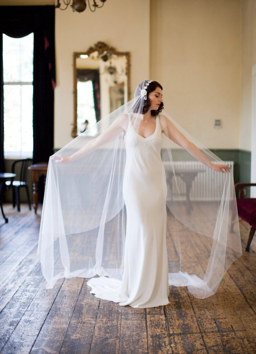 Cathedral Length Wedding Veil in Ivory Tulle - Juliet Cap Style 1930S Art Deco