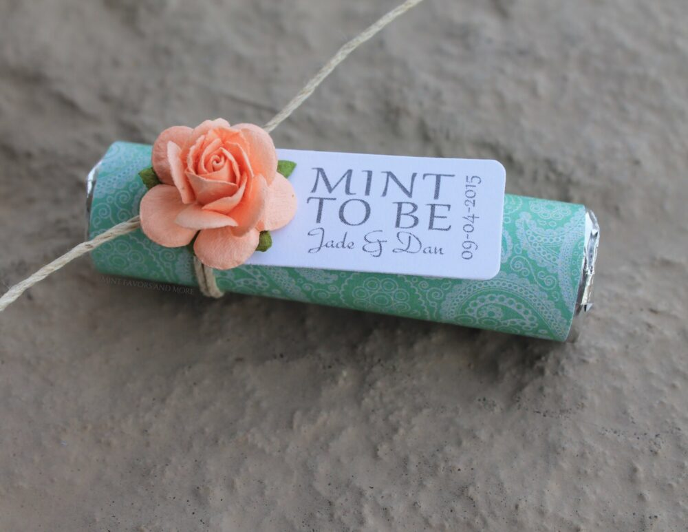 """Mint & Peach Wedding Favors - Set Of 100 Mint Rolls """"Mint To Be"""" With Personalized Tag Mint, Green, Peach, Coral"""