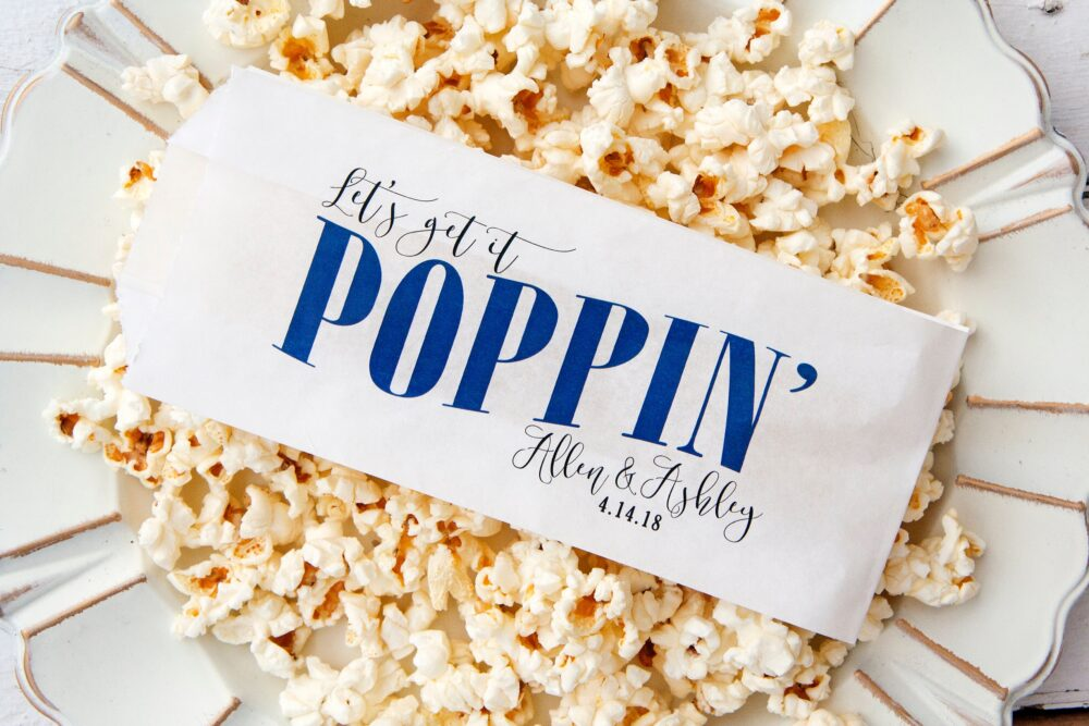 Wedding Favor Personalized Popcorn Bags - Poppin' Buffet Or Fresh Bag 20 White Per Pack | Food Not Included