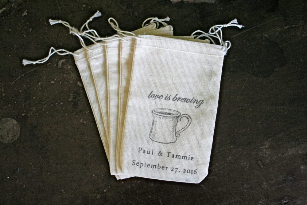Coffee Favor Bags For Wedding, Shower, Party- Personalized Cotton Pouches Coffee Or Tea Favors - Love Is Brewing, Drawstring Gift Bag