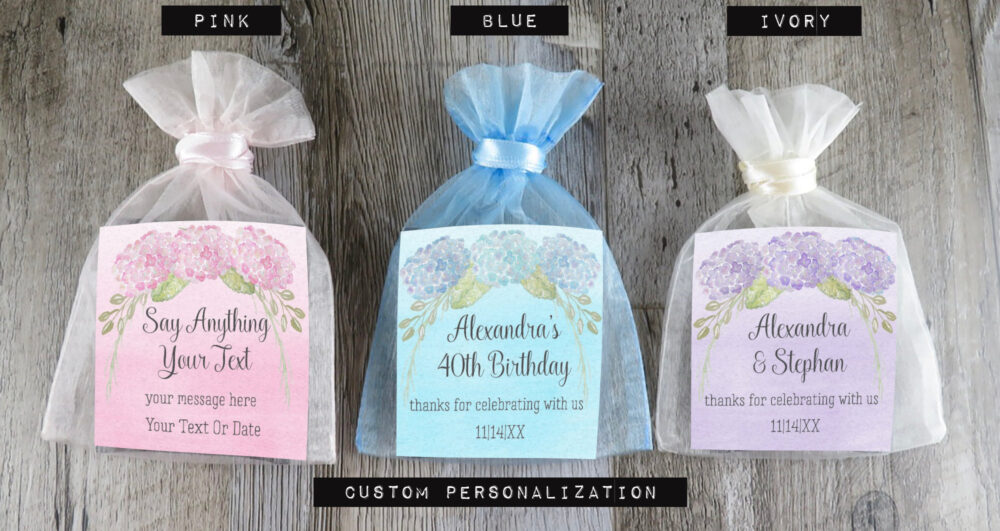 Tea Favors Personalized & Fully Assembled - Any Occasion Hydrangea Wedding Favor Party Bridal Shower -Tf Hy