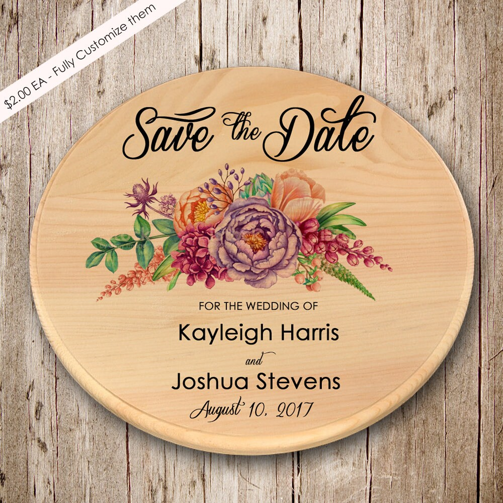 Floral Wooden Save The Date Magnets, Dates, Round Wood Save Dates, Date, Summer Wedding, Invitation