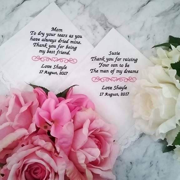 Personalised Wedding Handkerchief For Bride, Embroidered Handkerchief Mother Of Father Bride Personalised Hanky Wedding Gift