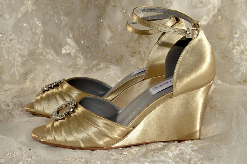 Wedding Shoes-Free Custom Colors, 250 Hand Dyed Women's Bridal Wedge Shoes Bridesmaids Maid Of Honor Pink2Blue Gold Satin Shoe